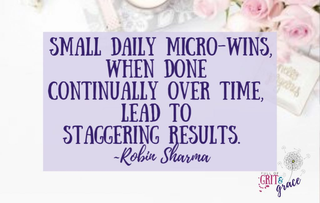 """""""Small daily micro-wins when done continually over time lead to staggering results.''"""