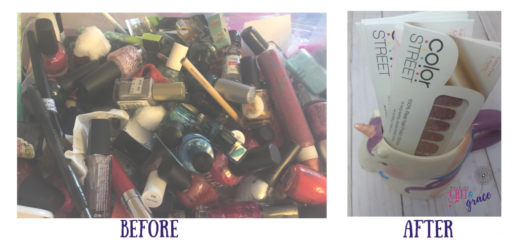 Nail polish before and after decluttering
