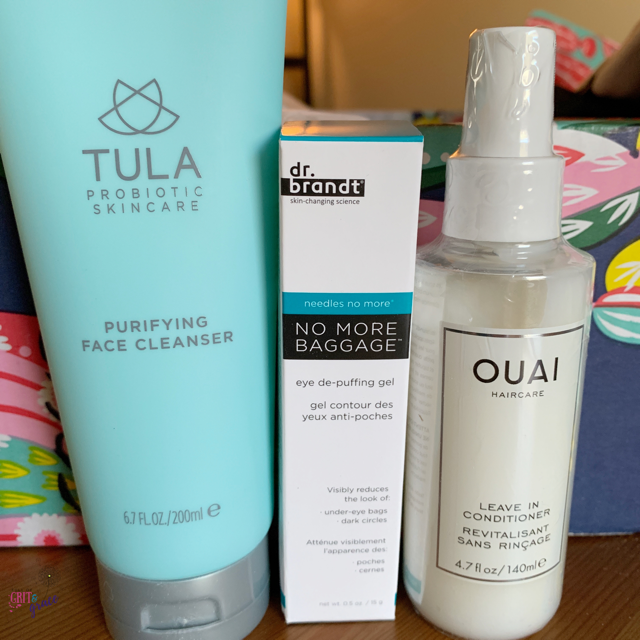Tula face cleanse, dr brandt eye de-puffing gel, and ouai leave in hair conditioner are three great products from this FabFitFun box.