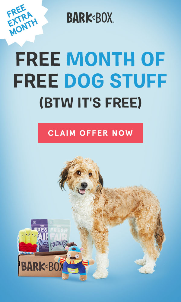 Dixie loves her BarkBox and thinks your dog will too! Get a free month of dog stuff for your favorite pet!
