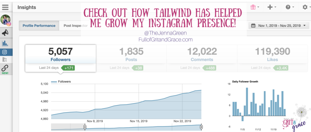 See how Tailwind has helped me to grow in all areas of Instagram engagement metrics. Click to learn more.